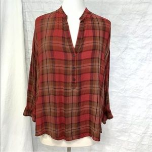 Lucky brand L plaid tunic top red gauze